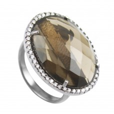 Vintage smoky topaz oval Cut Cocktail Cubic Zirconia Ring