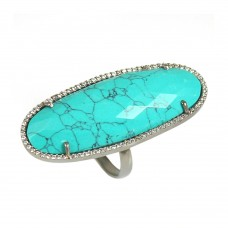 Synthetic turquoise oval silver cocktail ring