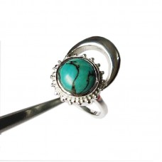 Natural Turquoise Silver Moon and Sun Ring